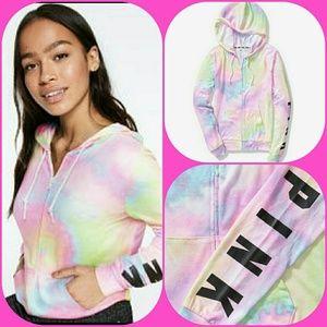 Victoria's Secret Pink Rainbow Tie Dye Hoodie